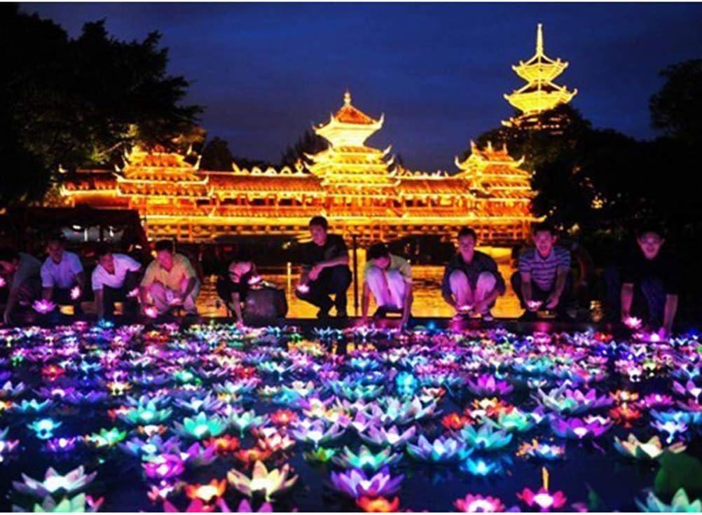 blanc + violet + orange + rose + rouge Uonlytech Lot de 5 lanternes en forme de lotus pour d/écoration de piscine