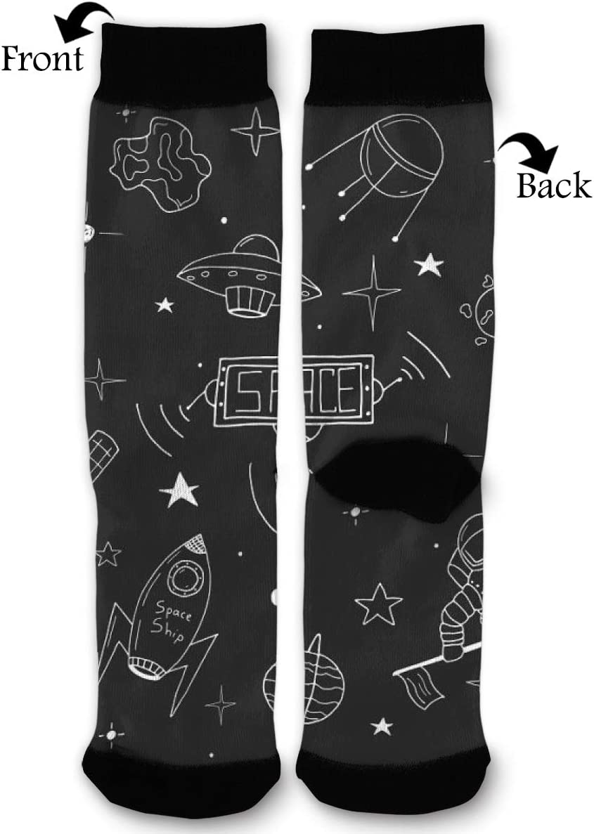 BLongTai Knee High Compression Socks Astronauts UFO Space for Women and Men Sport Crew Tube Socks