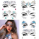 6 Pack Women Mermaid Face Gems Glitter, Bindi Crystals Face Stickers Rainbow Tears Rhinestone Rave Festival Face Jewels Eyes Face Body Temporary Tattoos for Music Festivals