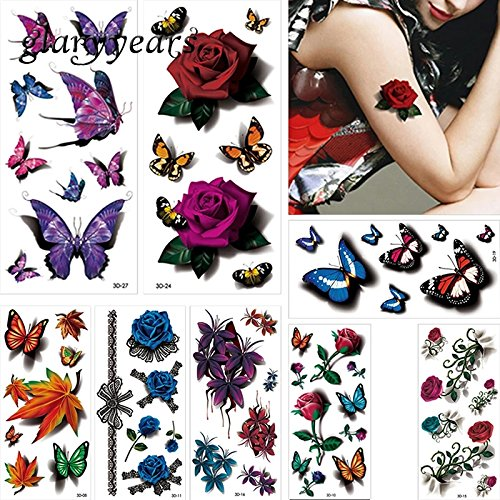Tempytatts 8 SHEETS butterfly floral arrangements purple flower petals over 75 TEMPORARY TATTOOS scar cover up Boho Mandala Mehndi FAKE TATTOO COVER UP body make up stretch mark cover (Purple Butterfly Tattoo)