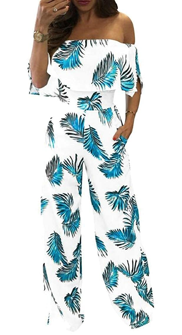 Womens Off Shoulder Fashion Loose Ruffle Leaves Print Jumpsuit