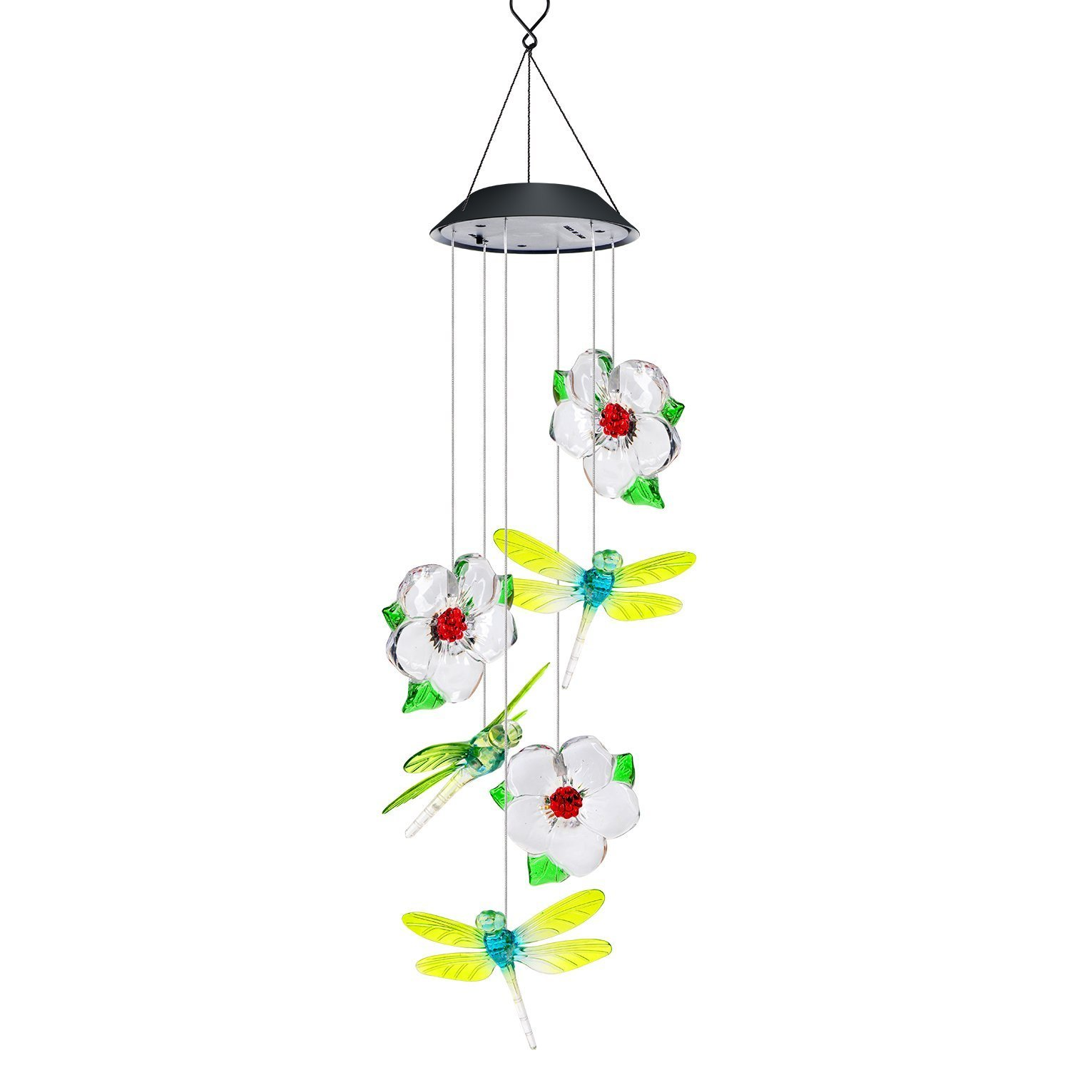 AVEKI Wind Chimes Outdoor, Solar Wind Chimes LED Color-Changing Hanging Lamp Waterproof Solar Powered Wind Chimes for Indoor Outdoor Garden Patio Decoration (Dragonfly)