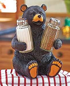 Bear Whimsical Farm Barnyard Animal Woodland Country Salt N Pepper Shaker Set Country Countertop Kitchen Accent Table Decor