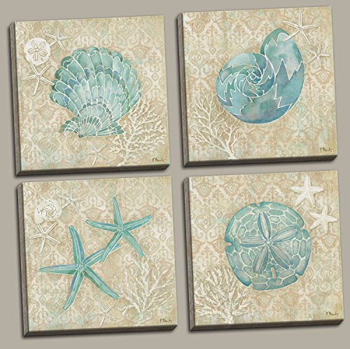 4 Lovely Teal and Brown Ocean Seashell Sand Dollar and Star Fish Collage Poster Prints; Nautical Decor, Four 12 by 12-Inch Canvases; Ready to (Sea Shell Art)