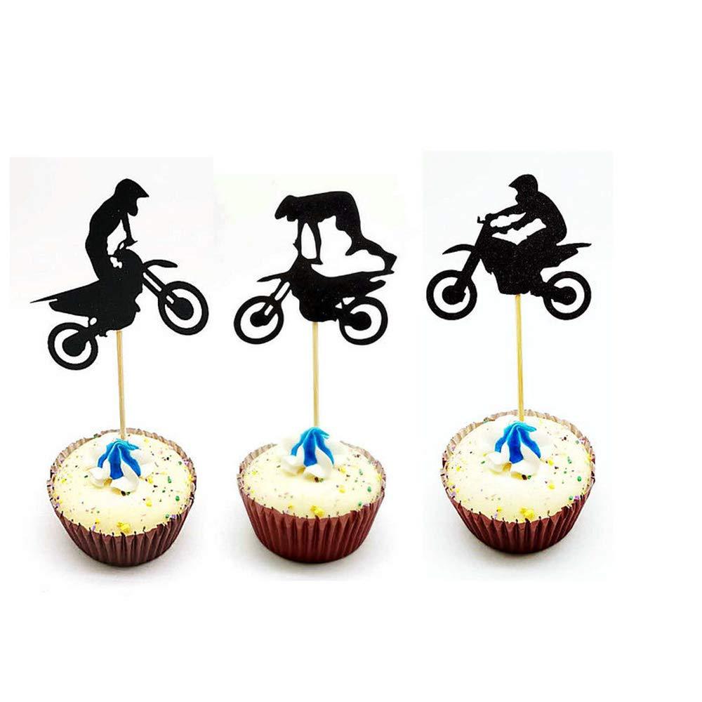 Hongkai 24PCS Scrambling Motorcycle Sports Theme Cake Toppers Cupcake Kids Happy Birthday Gender Reveal Baby Shower Wedding Engagement Party Decorations Supplies