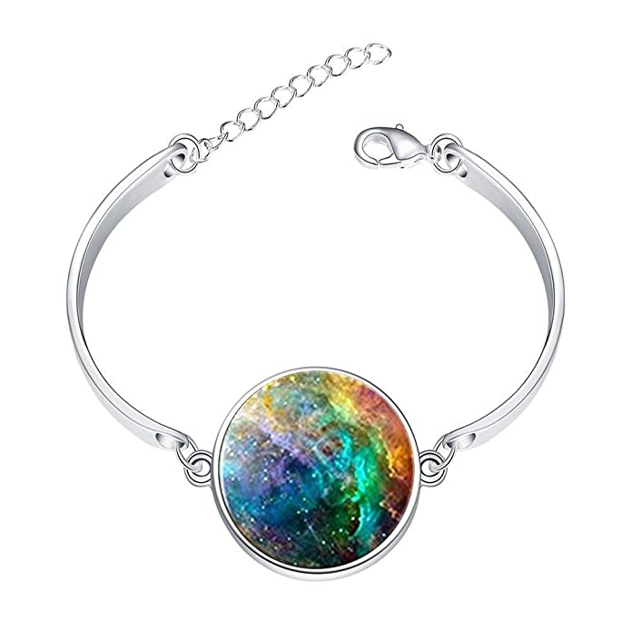 DOME-SPACE Adjustable Silver Bracelets Universe Starry NebulaHand Chain Link Bracelet Clear Bangle Custom Glass Cabochon Charm