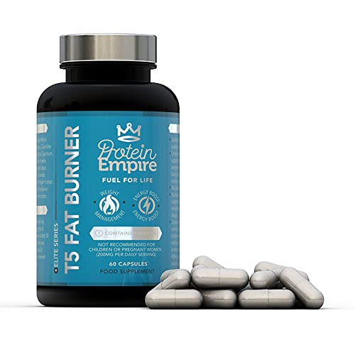 Protein Empire ELITE SERIES T5 FAT BURNER 60 CAPSULES - Effective Safe & Natural Fat Burners for Women and Men, Best Fat Burners, Weight Loss - FULL Money Back Guarantee - Manufactured In The UK