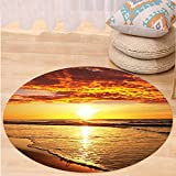 VROSELV Custom carpetOcean Decor Collection Sunset at a Long Sandy Beach Sun Lights Up Clouds and the Sea from the Horizon at Hawaii Picture Bedroom Living Room Dorm Orange Yellow Round 79 inches