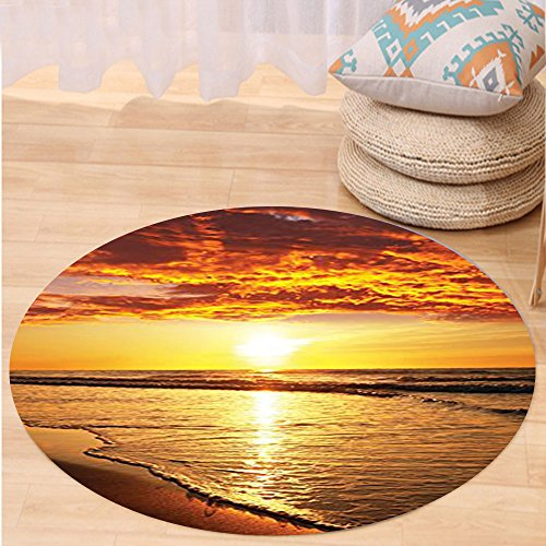 VROSELV Custom carpetOcean Decor Collection Sunset at a Long Sandy Beach Sun Lights Up Clouds and the Sea from the Horizon at Hawaii Picture Bedroom Living Room Dorm Orange Yellow Round 79 inches by VROSELV