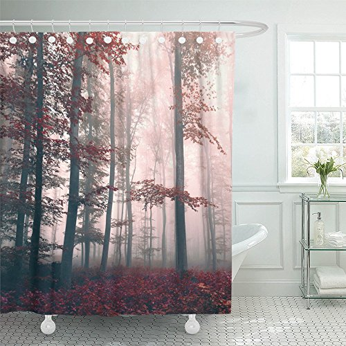 - Emvency Shower Curtain Polyester Print 72x78 Inches Colorful Beautiful Red Colored Foggy Dreamy Forest Landscape with Mystic Light Bathroom