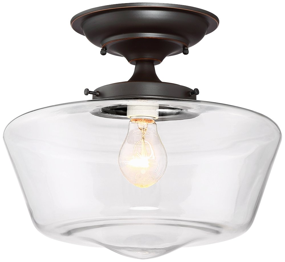 Schoolhouse Floating 12''W Bronze Clear Glass Ceiling Light