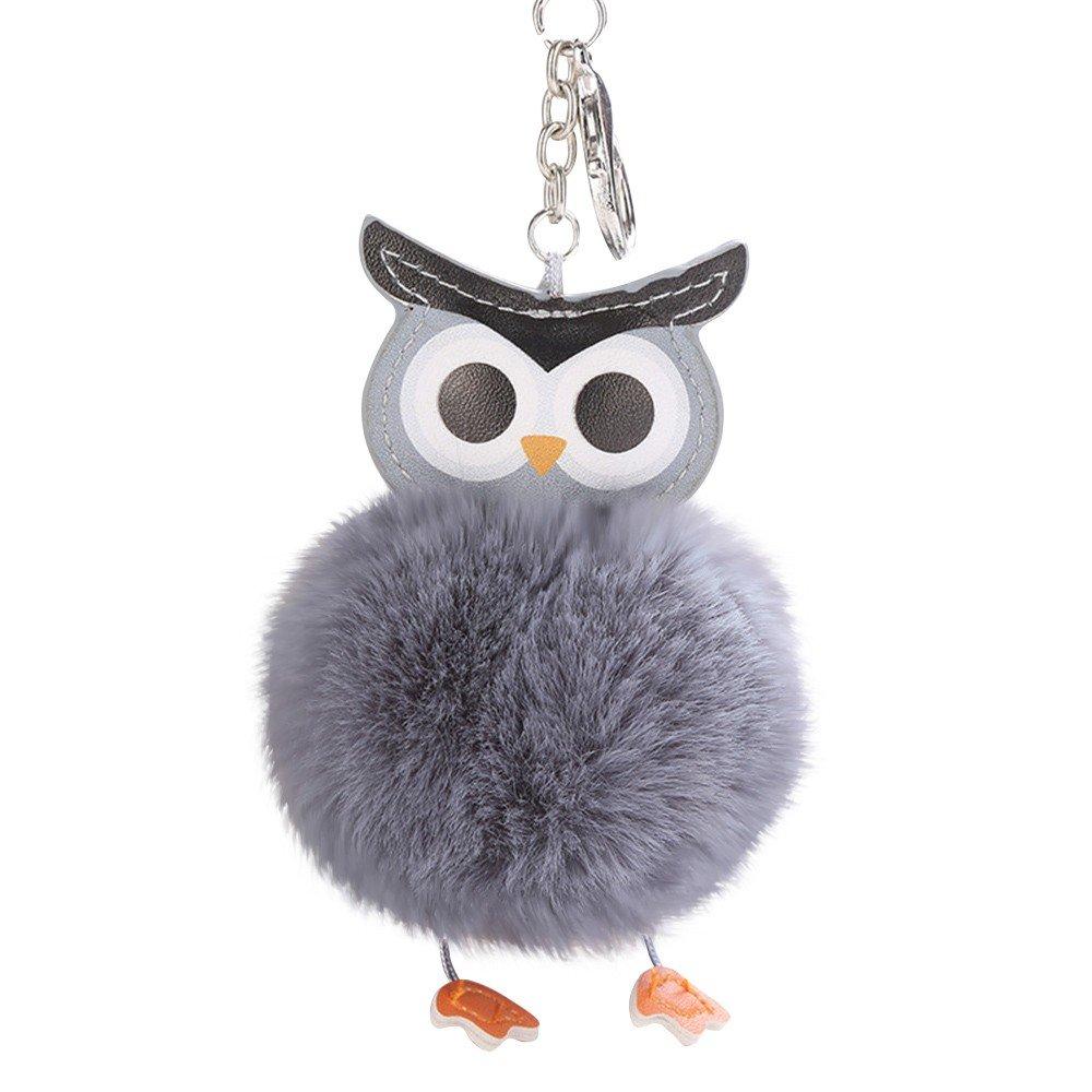 Fashion Cute Fur Fluffy Pompom Cartoon Owl Key Ring Keychain Handbag Car Pendant Jewelry Cellphone Charm Hang Accessories Gift About1988 无