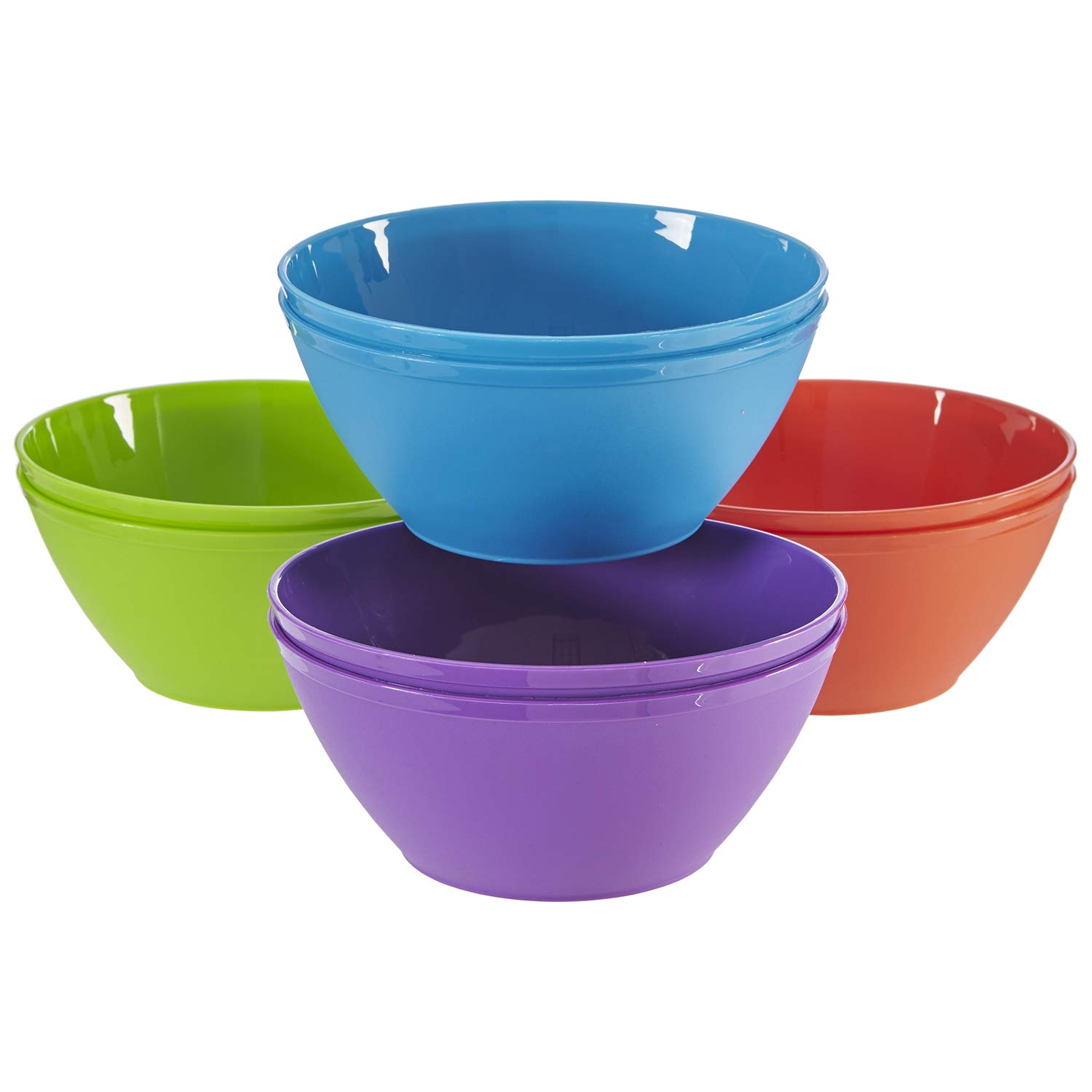 Fresco 6-inch Plastic Bowls for Cereal or Salad | set of 8 in 4 Classic Colors