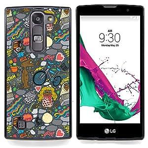 "Qstar Arte & diseño plástico duro Fundas Cover Cubre Hard Case Cover para LG G4c Curve H522Y ( G4 MINI , NOT FOR LG G4 ) (Fondo de pantalla de Alien Art Dibujo Ufo Cartoon"")"