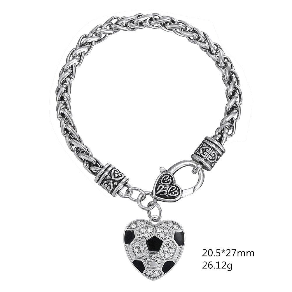 Black Enamel White Crystal Stone Heart Shape Soccer Ball Bracelet Sports Jewelry