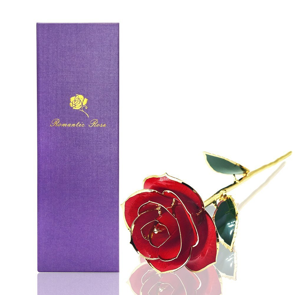 Rose Flower,Red rose,econoLed Best Gift for Valentine's Day, Mother's Day, Anniversary, Birthday Gift, Gift for Lover Mother Girlfriend, 24k Golden Plated Rose In Gift Box Red All Women Girl Gifts