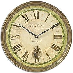 Elegant Vintage Style 18 Round Wall Clock | Pendulum Roman Numerals Gold