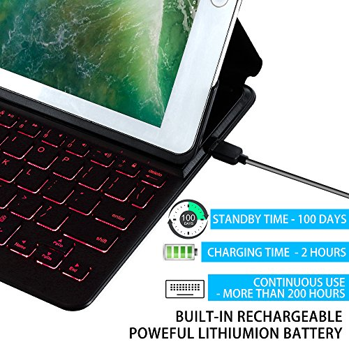 2018 iPad 9.7 6th Generation/Pad Air/iPad 9.7 Keyboard Case EC Technology 7 Color Backlit Hard Shell Wireless Bluetooth Keyboard Cover,Ultra Slim,Portable with Auto Sleep/Wake-Black by EC Technology (Image #5)