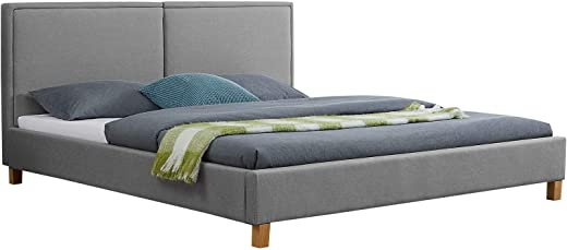 CARO-Möbel Polsterbett Samuel Bettgestell 180 x 200 cm Doppelbett Designbett inklusive Lattenrost Stoffbezug in grau