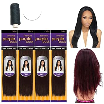 Amazon outre premium purple pack 100 human hair yaki outre premium purple pack 100 human hair yaki extension weave w needle and thread pmusecretfo Images
