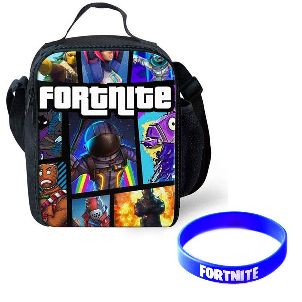 Fortnite Battle Royale Insulated Lunch Bag Girls Boys School Snack Box Cross-body Shoulder Bag Bento Picnic Insulated Grocery Bag With Zip & Handle (A)