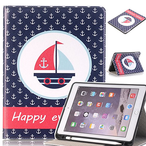 Price comparison product image JiiJian iPad Air Case for Kids, PU Leather Cartoon Cover, Slim Lightweight Shell Stand with Pencil Holder for iPad Air / iPad Air 2 / 2017 New iPad / 2018 New iPad Case- Sailboat