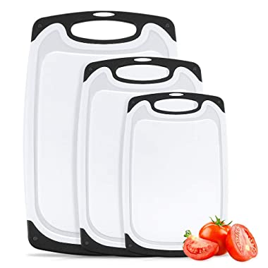 Aritan Plastic Cutting, 3 Packs Chopping Board with Food Grade PP Anti-Microbial and Deep Drip Juice Groove for Kitchen Tool set of 3 Black