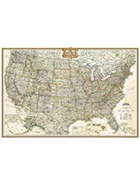 United States Executive Poster Size And Tubed National Geographic Reference Map