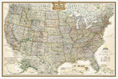 National Geographic: United States Executive Wall Map (36 x 24 ...