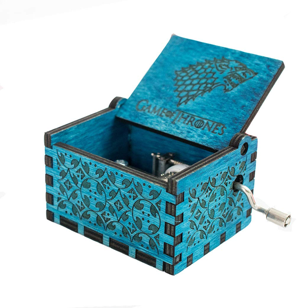 Meiion Antique Carved Wooden Music Box Hand Cranked Music: Game of Thrones, Harry Potter,Godfather Theme Gift