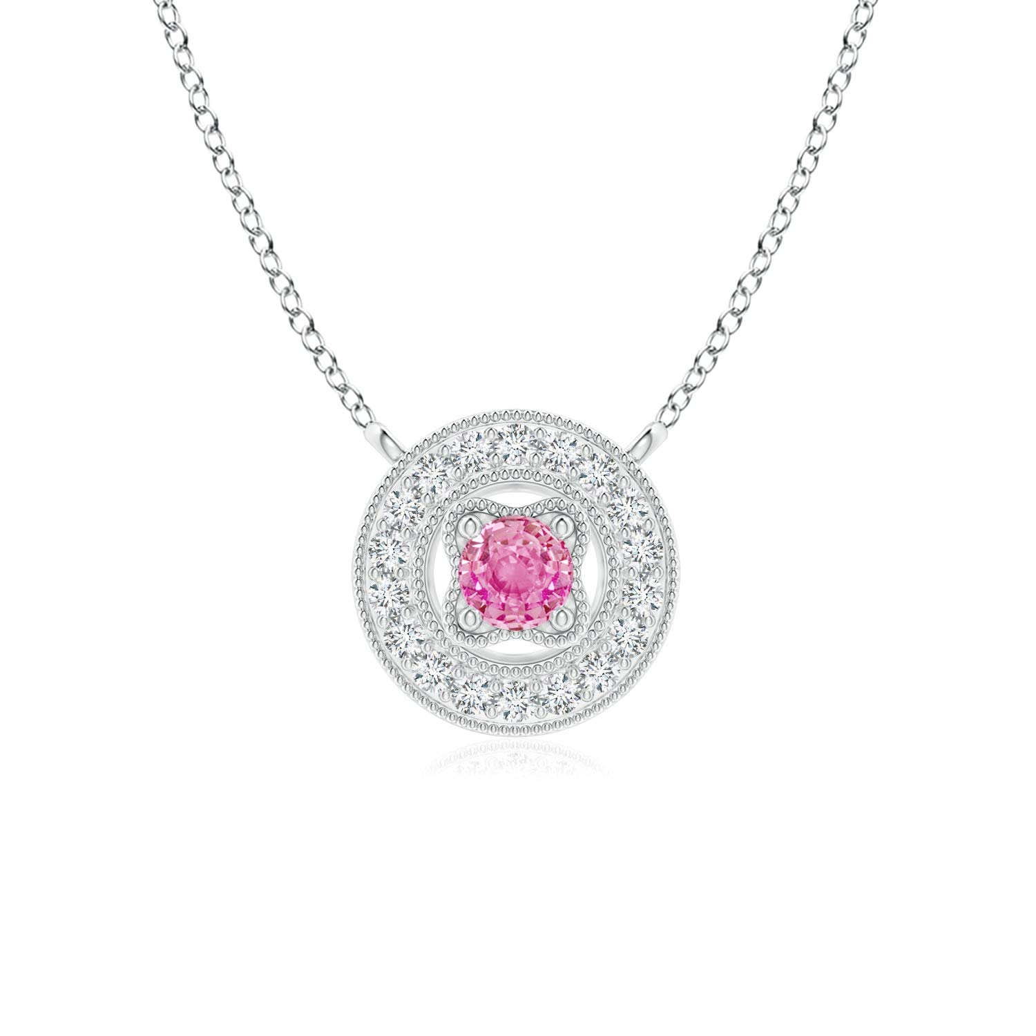 Vintage Style Pink Sapphire Halo Pendant with Milgrain 2.5mm Pink Sapphire