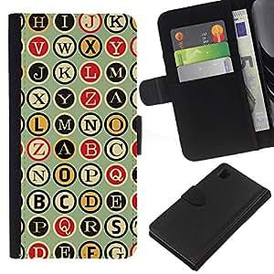 KLONGSHOP // Tirón de la caja Cartera de cuero con ranuras para tarjetas - Metro Máquina de escribir Patrón Escritor - Sony Xperia Z1 L39 //