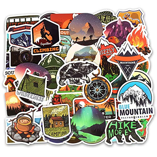 Honch Wilderness Nature Stickers Outdoors Hiking Camping Travel Adventure Stickers Pack 50 Pcs Suitcase Stickers Vinyl Decals for Car Bumper Helmet Luggage Laptop Water (Best Hiking Stickers)