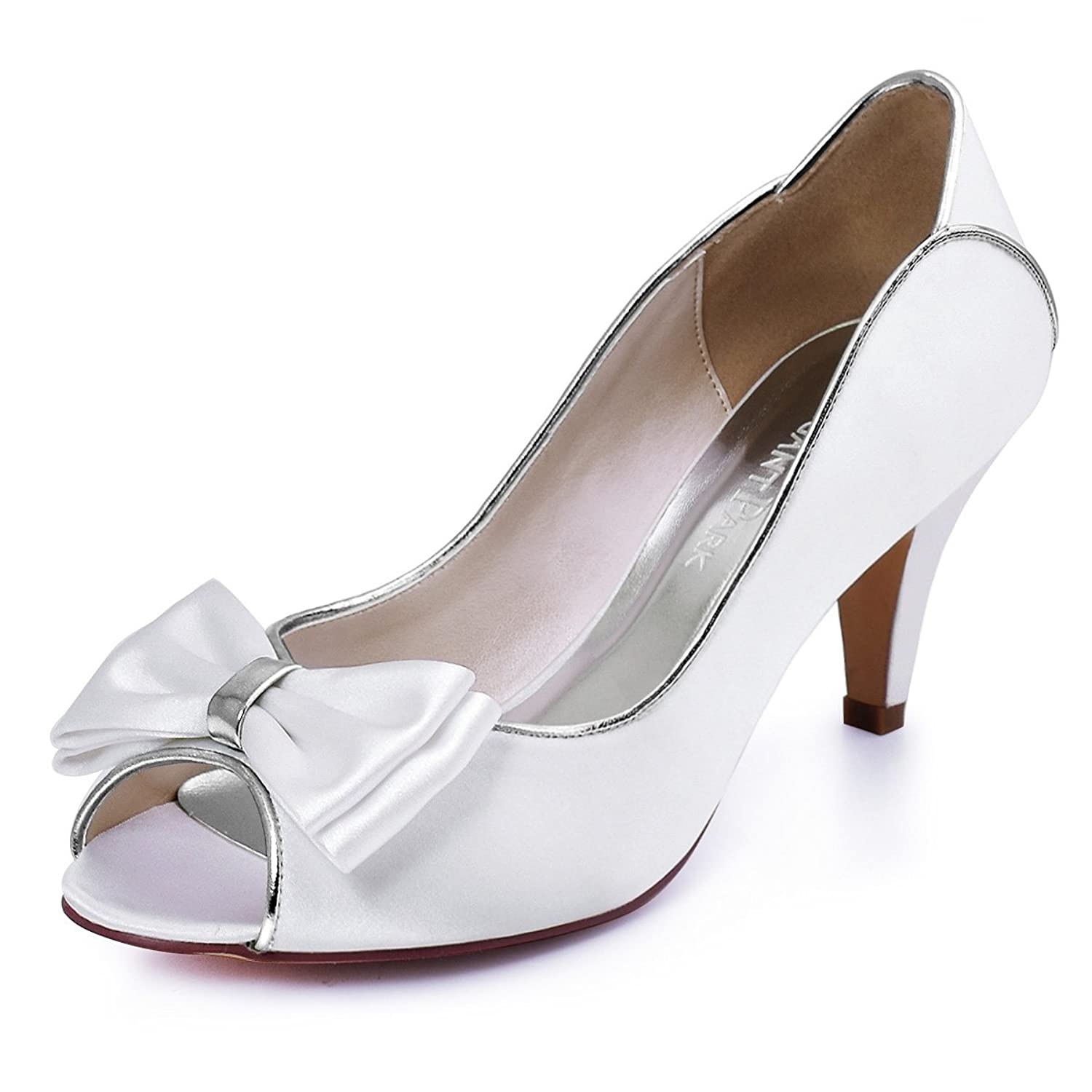 Vintage Inspired Wedding Dresses ElegantPark HP1606 Off White Peep Toe Pumps Mid Heel Satin Wedding Bridal Shoes Bows $33.95 AT vintagedancer.com
