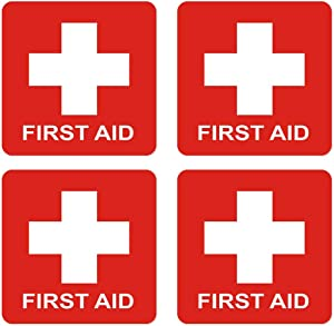 dealzEpic - First Aid Cross Sticker Sign - Self Adhesive Peel and Stick Vinyl 1st Aid Decal Symbol - 3.94x3.94 inches | Pack of 4 Pcs