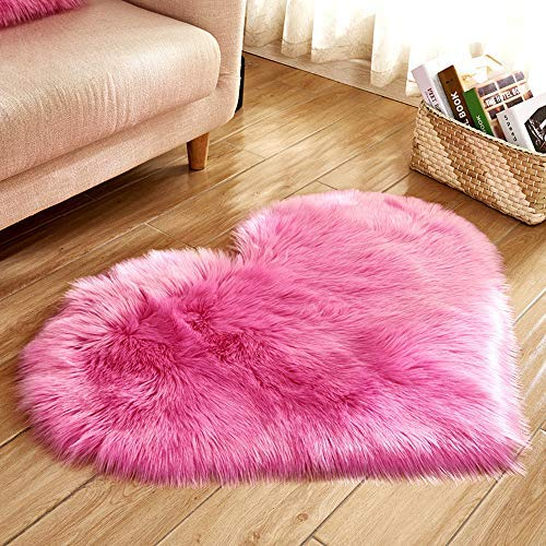 Heart Shaped Soft Faux Sheepskin Fur Area Rugs for Home Sofa Floor Mat Plush, 3ft x 2.2ft (Pink) (Carpet Shag Pink Hot)