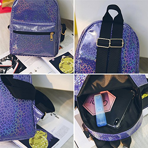 Mochilas Mujer Casual,Moda mujer chica láser mochila caramelo color viaje mochila escuela bolsa LMMVP Morado