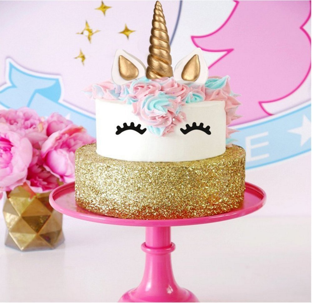 Yashell 9625321410 Topper, Reusable Gold Horn,Ears and Eyelashes Cake Value Set for Unicorn Party Decoration for Baby Shower,Weddin 5