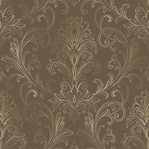 York Wallcoverings BR6269SMP Whisper Prints Linear Damask Wallpaper Memo Sample, 8-Inch x 10-Inch, Deep Mocha/Deep Gold Pearl ()