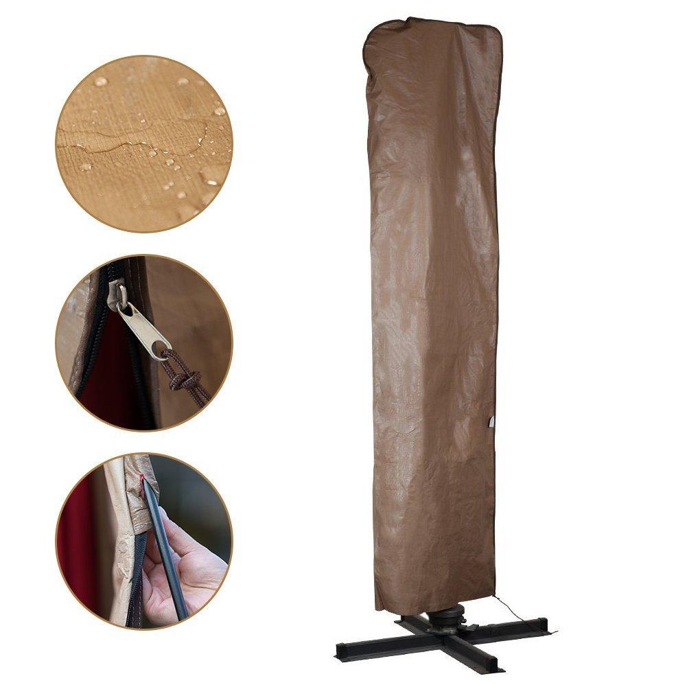 Abba Patio Copertura protettiva impermeabile per ombrelloni, Telo di protezione per oggetti da giardino, copertura per ombrello da 274cm a 335cm, Colore Marrone