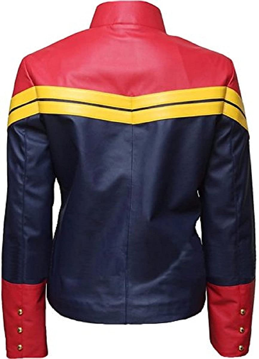 Bestzo Womens America Fashion Real Leather Captain Jacket Multicolored