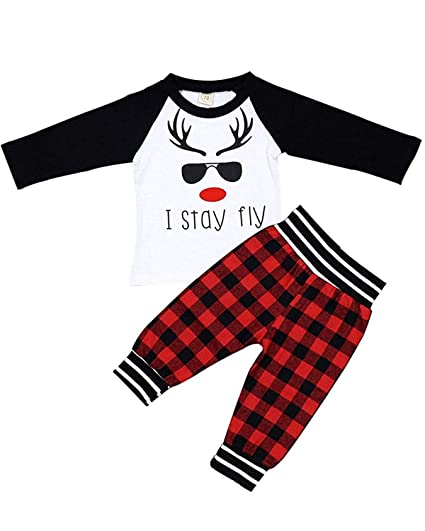 7bd105f26 Amazon.com: Christmas Toddler Baby Boy Girl Clothes Letter T-Shirts Top  Long Sleeve Blouse + Plaid Pants 2PCS Outfit Set (White, 0-6 Months):  Clothing