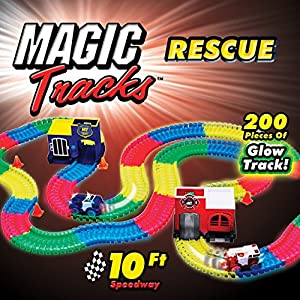 ONTEL Magic Tracks Resuce Race Car Set, Multicolor, 10'