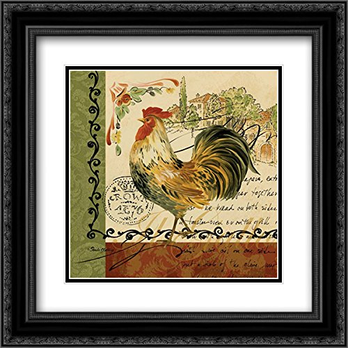Viva Italia Roosters IV 2X Matted 20x20 Black Ornate Framed Art Print by Gladding, ()