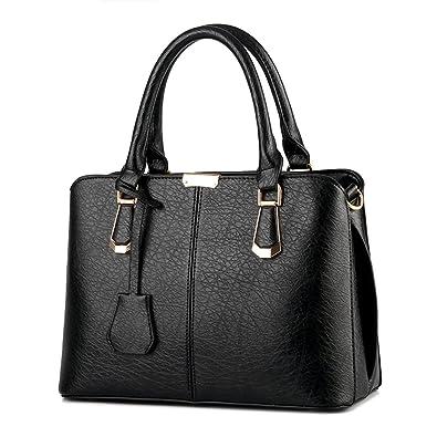 9fb8981ffb Women PU Leather Handbag Shoulder Lady Cross Body Bag Tote Messenger  Satchel Purse (Black)