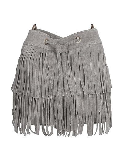 CASPAR TL677 Damen Wildleder Fransen Tasche / Beutel, Farbe:schwarz CASPAR Fashion