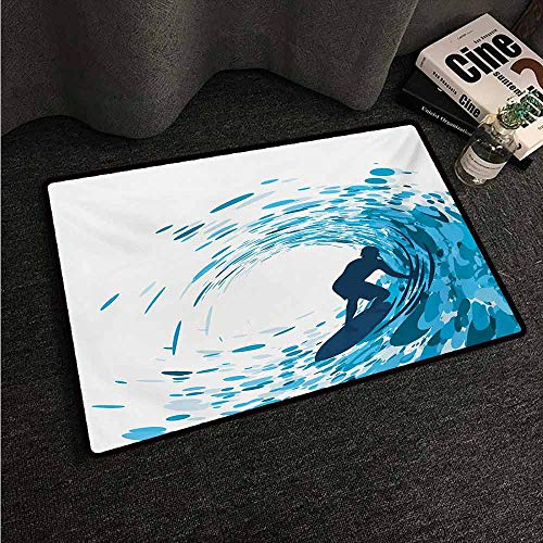 HCCJLCKS Non-Slip Door mat Ride The Wave Silhouette of a Surfer Under Giant Ocean Waves Athlete Hobby Lifestyle Image All Season General W35 xL59 Night Blue
