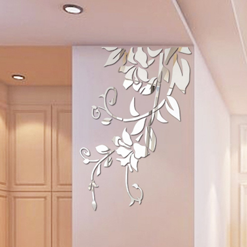 Huikeer Wall Stickers for Living Room, Art Decal Mirror Flower DIY Self-Adhesive Wall Decoration Removable Wallpaper 3D Vinyl Sticker for Home Bedroom Bathroom Decor Mural Quotes (Silver)