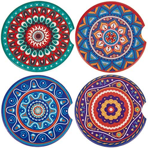 4 Pack Car Cup Holder Coasters,2.56 inch Absorbent Mandala Ceramic Car Insert Coasters with Fingertip Grip for Easy Removal,Keeps Vehicle Cup Holders Clean Off Cold Drink Spills and Condensation