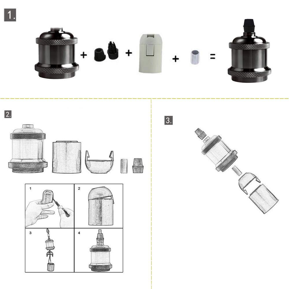 Black Portalampada E27 vintage in ceramica solida con portalampada e adattatore per lampada industriale retr/ò Edison per lampada a sospensione fai-da-te